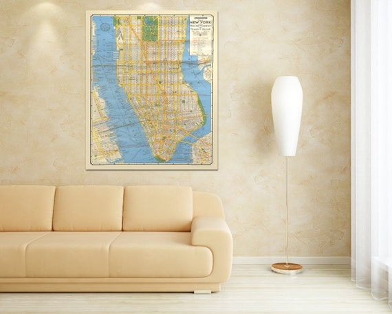 Print of Antique New York City Street Map House Number and Transit Guide on Stretched Canvas, Photo Paper, or Matte Paper. Free Shipping!