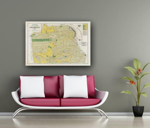 Print of Antique Map of San Francisco on Photo Paper Matte Paper or Stretched Canvas