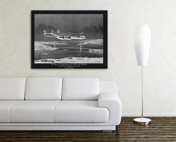 Vintage Antique Print of Pan American Airways Round the World Flight on Photo Paper Matte Paper Canvas Giclee