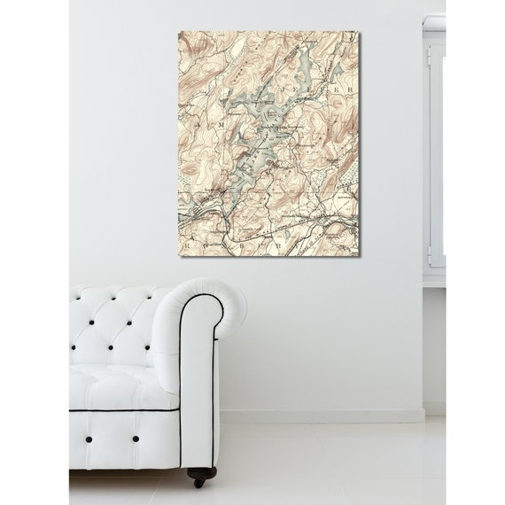 Detailed Map of Lake Hopatcong in New Jersey. Printed on Canvas, Heavyweight Matter Paper, or Photo Paper.