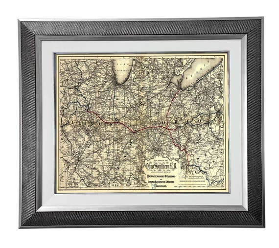 Print of Antique Map of Ohio on Photo Paper Matte Paper or Stretched Canvas