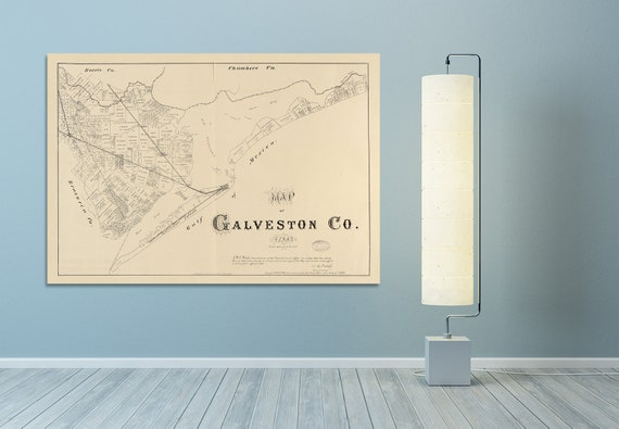 Print of Antique Map of Galveston County Texas on Photo Paper, Matte Paper or Stretched Canvas