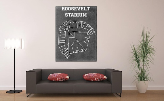 Print of Vintage Roosevelt Stadium Seating Chart on Photo Paper, Matte paper or Canvas