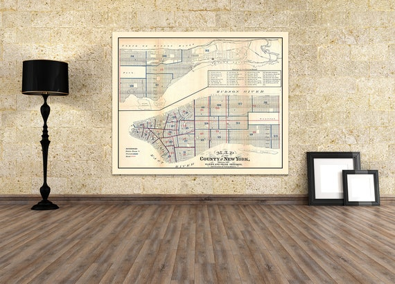 Print of Antique Map of New York on Matte Paper, Photo Paper, or Stretched Canvas. Free Shipping!