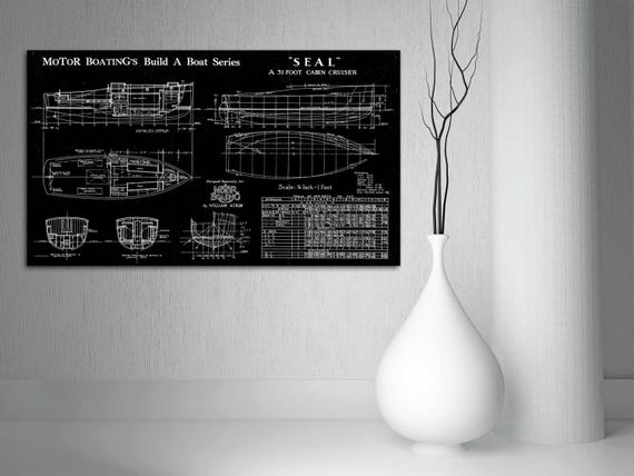 Print of Vintage SEAL Boat Blueprint from Motor Boating's Build a Boat Series on Your Choice of Matte Paper, Photo Paper, or Canvas