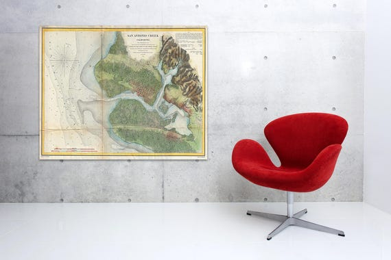 Print of Antique Map of San Antonio Creek on Matte Paper, Photo Paper, or Stretched Canvas. Free Shipping!