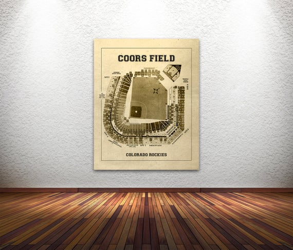 Vintage Print of Coors Field Seating Chart Colorado Rockies Baseball Blueprint on Photo Paper, Matte Paper or Stretched Canvas