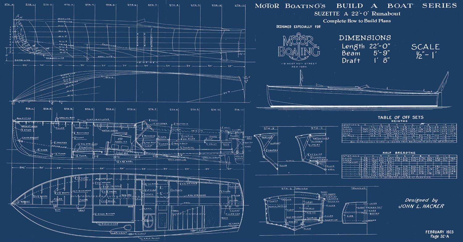 Print of vintage suzette boat blueprint from motor boatings build a 1 malvernweather Choice Image