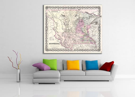 Print of Antique Map of the Minnesota on Photo Paper Matte Paper or Stretched Canvas