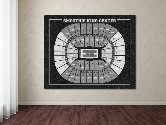 Vintage Print of Smoothie King Center Seating Chart on Premium Photo Luster Paper Heavy Matte Paper, or Stretched Canvas. Free Shipping!