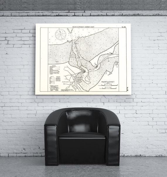 Antique Print of a Nantucket Island, Massachusetts Map on your choice of Photo Paper, Matte Paper or Canvas Giclee