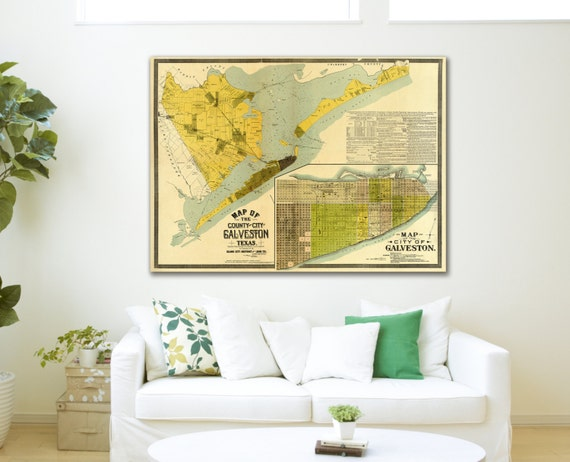 Print of Antique Map of Galveston County, Texas on Photo Paper Matte Paper or Stretched Canvas