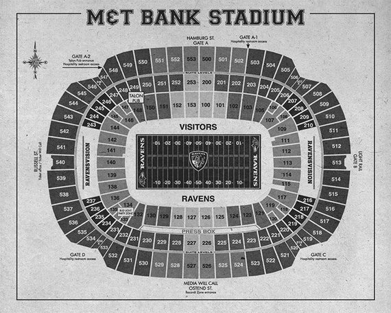 Print Of Vintage Mt Bank Stadium Seating Chart Seating Chart On Photo Paper Matte Paper Or Canvas
