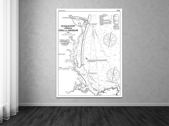 Antique Print of Harbor Charts Newburyport, Ipswich, Essex & Annisquam, MA on your choice of Photo Paper, Matte Paper or Canvas Giclee