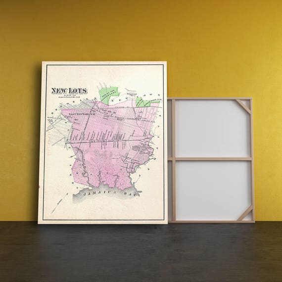 Print of Antique Map of the New Lots of Jamaica on Photo Paper Matte Paper or Stretched Canvas