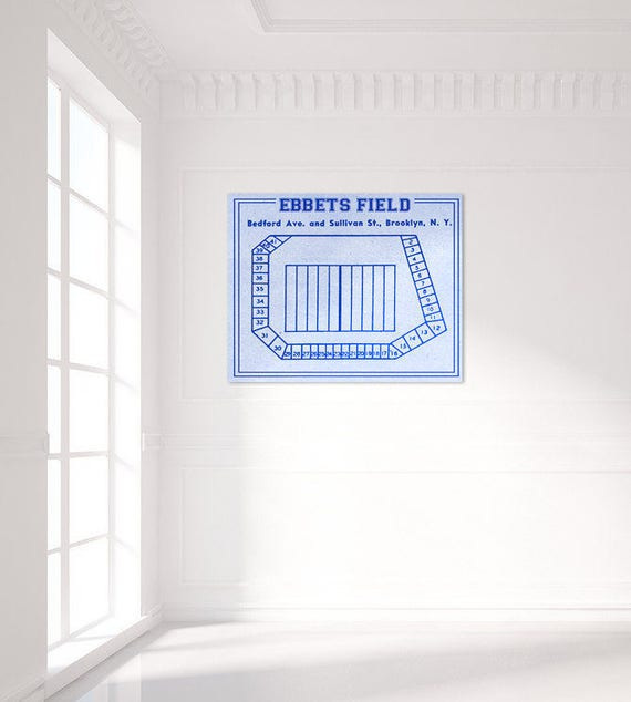 Print of Vintage Ebbets Field Seating Chart Seating Chart on Photo Paper, Matte paper or Canvas