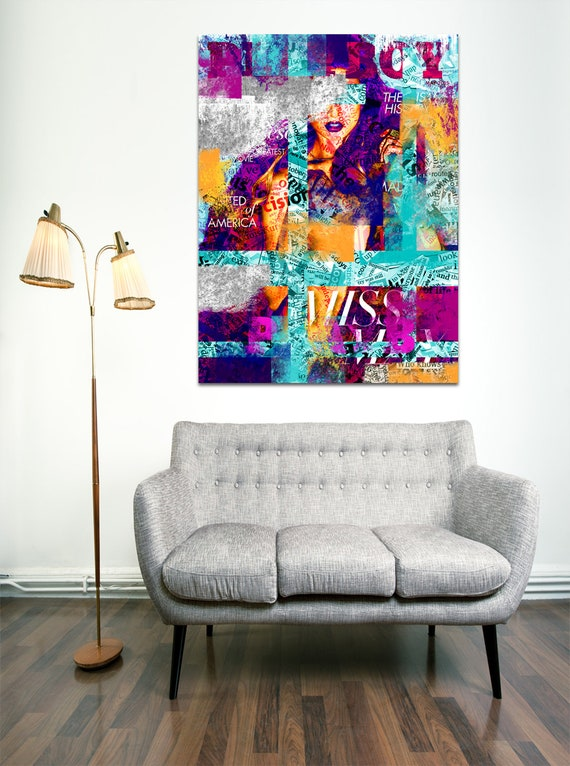 Modern Art Print on Photo Paper, Matte Paper, or Canvas of Female Figure Collage Painting. Free Shipping!