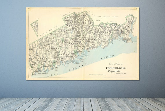 Print of Antique Map of Fairfield County, Connecticut on Photo Paper, Matte Paper or Stretched Canvas