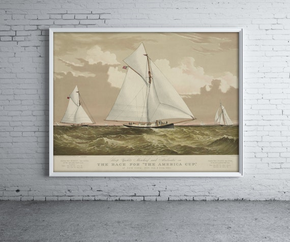 Vintage Print of American Yacht Mischief on Photo Paper, Matte Paper or Stretched Canvas