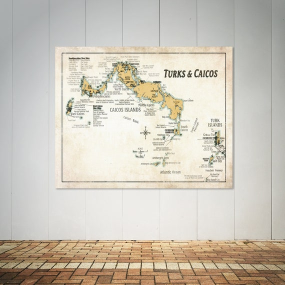 Detailed Map of Turks and Caicos Islands. Printed on Canvas, Heavyweight Matter Paper, or Photo Paper.