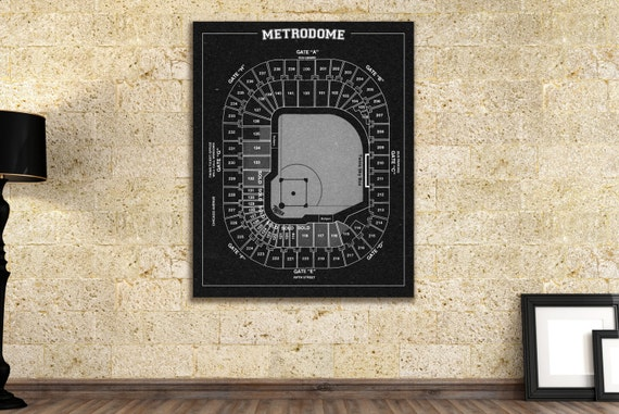 Vintage Style Print of Minnesota Twins Metrodome on Photo Paper, Matte Paper, or Stretched Canvas