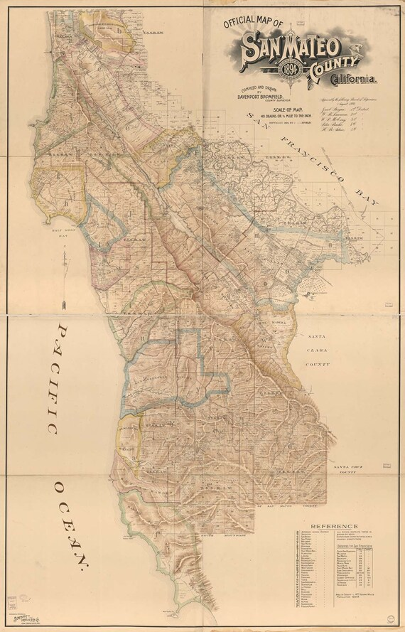 Vintage Print of San mateo county california  Map on Canvas Photo Paper or Matte Chart 1800s antique