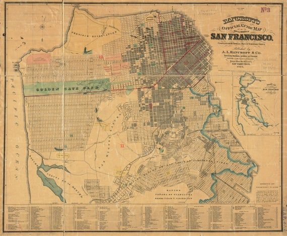Vintage Antique San Francisco, California Bay City Map on Matte Paper,Photo Paper or Stretched Canvas