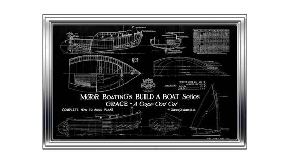 Print of Vintage GRACE Boat Blueprint from Motor Boating's Build a Boat Series on Your Choice of Matte Paper, Photo Paper, or Canvas
