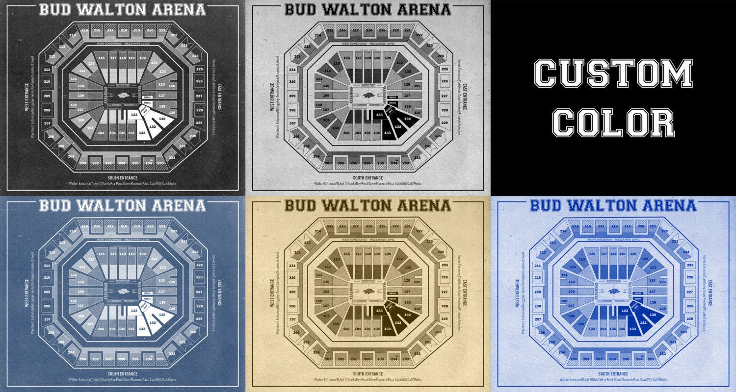 Vintage Print Of Bud Walton Arena Seating Chart On Premium