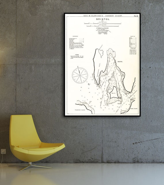 Antique Print of a Bristol Rhode Island Map on your choice of Photo Paper, Matte Paper or Canvas Giclee