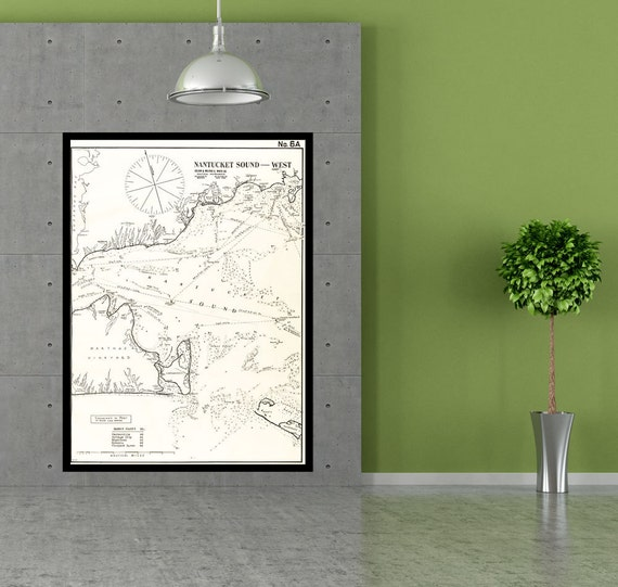 Antique Print of Nantucket Sound West Massachusetts Cape Cod on your choice of Photo Paper, Matte Paper or Canvas Giclee