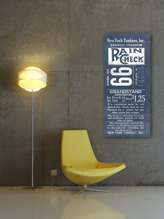 Print of Vintage New York Yankees Ticket Stub on Photo Paper, Matte paper or Canvas