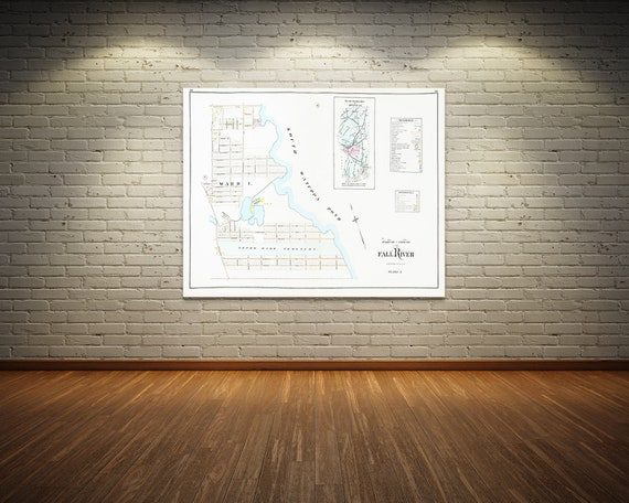 Print of Antique Map Featuring Part of Fall River Plate 5, Massachusetts, Bristol County on Photo Paper, Matte Paper or Stretched Canvas