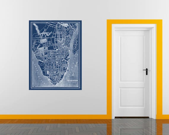Print of Antique Map of Charleston South Carolina on Photo Paper Matte Paper or Stretched Canvas
