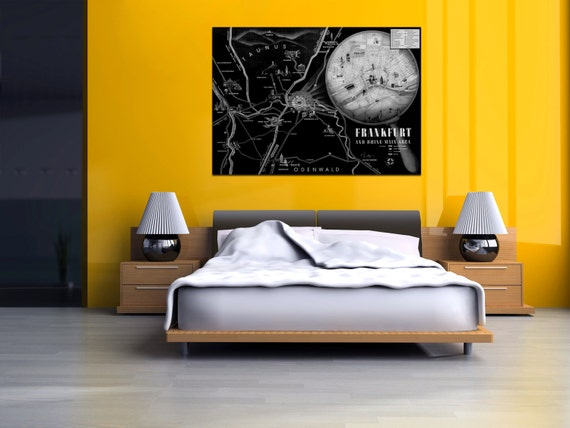 Vintage Antique Highway System Map of Frankfurt and Rhine on photo paper Matte paper Canvas Art Home Decor Giclee Print