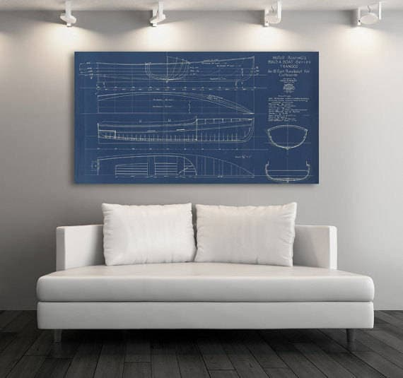 Print of Vintage TRANSCO Boat Blueprint from Motor Boating's Build a Boat Series on Your Choice of Matte Paper, Photo Paper, or Canvas