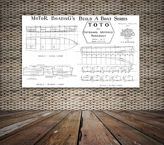 Print of Vintage TOTO Boat Blueprint from Motor Boating's Build a Boat Series on Your Choice of Matte Paper, Photo Paper, or Canvas