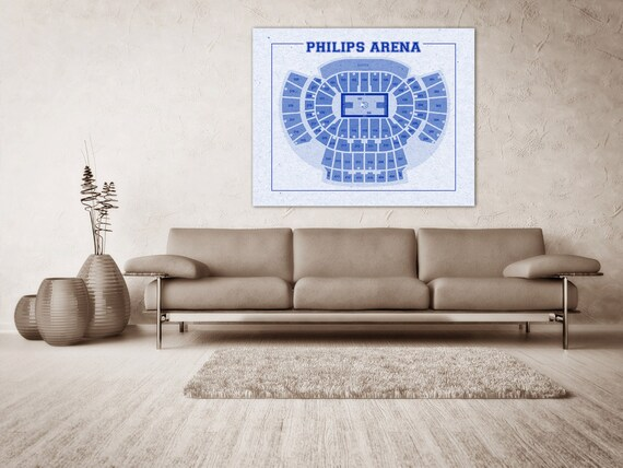 Vintage Print of Philips Arena Seating Chart on Premium Photo Luster Paper Heavy Matte Paper, or Stretched Canvas. Free Shipping!