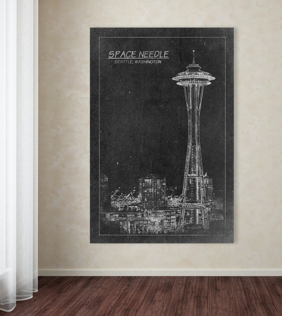 Space Needle Tower Blueprint Print on Photo Paper, Matte Paper, and Stretched Canvas.