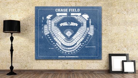 Vintage Print of Chase Field Seating Chart Baseball Arizona Diamondbacks Blueprint on Photo Paper, Matte Paper or Stretched Canvas