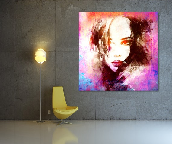Fine Art Print of Abstract Female Portrait Contemporary Modern Art. Available on Canvas, Photo Paper, and Matte Paper. Free Shipping!