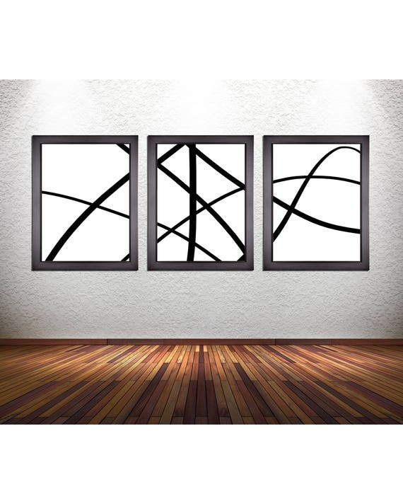 3 Piece Set of Minimalism Abstract Line Art Prints on Premium Photo Paper, Stretched Canvas, or 300 GSM Heavy Matte Paper
