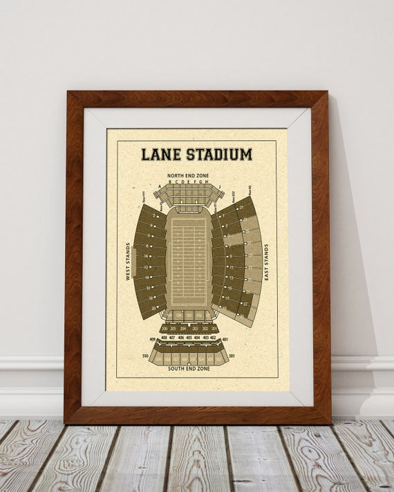 Vintage Style Print of Lane Stadium on Photo Paper, Matte Paper, or Stretched Canvas.