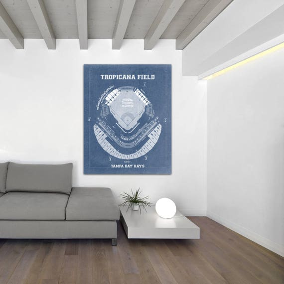 Tampa Bay Rays Tropicana Field Stadium Baseball Blueprint Photo Paper, Matte Paper or Canvas, dad gift, wall art, home decor