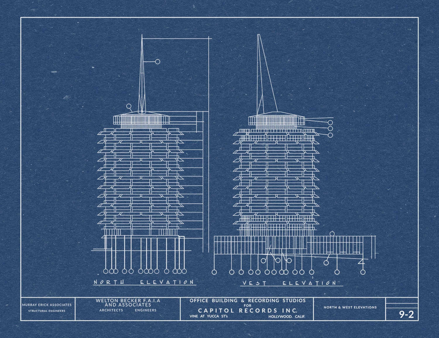 Print of vintage capitol records building blueprint on your choice 1 malvernweather Image collections