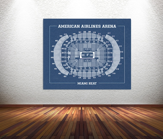 Vintage Print of American Airlines Arena Seating Chart on Premium Photo Luster Paper Heavy Matte Paper, or Stretched Canvas. Free Shipping!