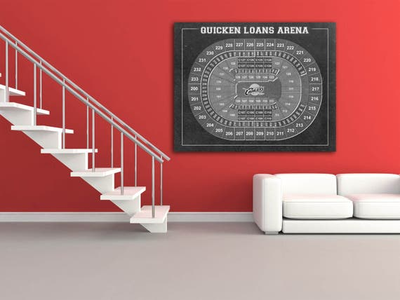 Vintage Print of Quicken Loans Arena Seating Chart on Premium Photo Luster Paper Heavy Matte Paper, or Stretched Canvas. Free Shipping!
