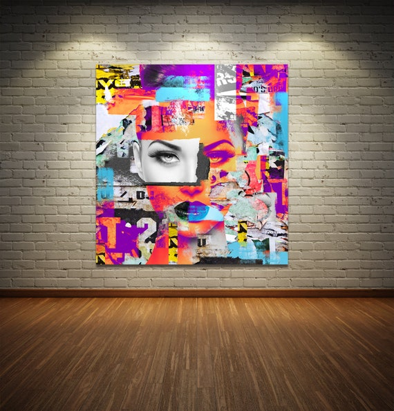Print of modern abstract collage painting featuring female portrait with text printed on canvas, photo paper or matte paper, free shipping!