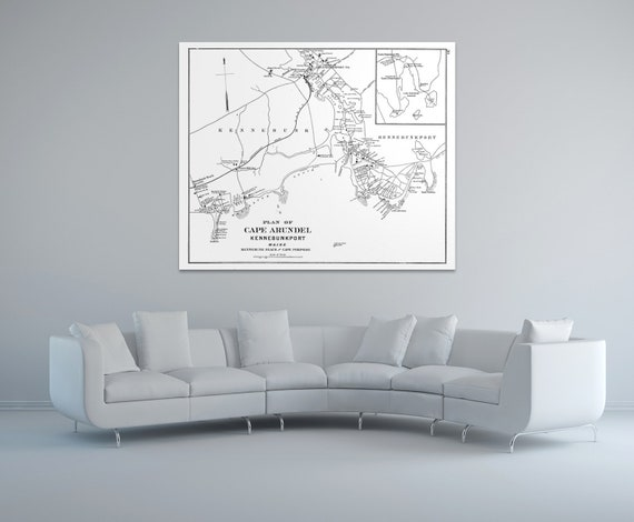 Print of Antique Map of Cape Arundel Kennebunkport Maine on Photo Paper, Matte Paper or Stretched Canvas