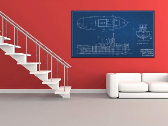 Vintage Print of Oil Screw Tug S.T. Boss Diagram Line Drawing Schematic Blueprint on Matte Paper, Photo Paper or Stretched Canvas